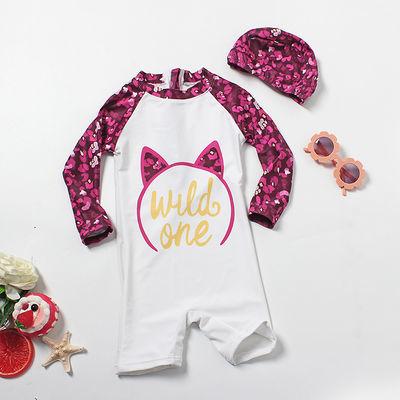 新款儿童泳衣女连体中小童可爱猫咪泳装长袖长裤游泳衣带泳帽