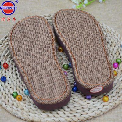 【3送1】孺子牛凉拖鞋夏季手工编织竹凉亚麻平跟儿童防滑鞋底子
