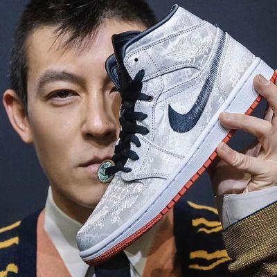 新款AJ1白丝绸陈冠希同款乔1铜钱联名篮球鞋高帮男女低帮板鞋休闲