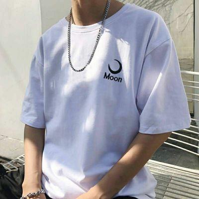 夏季网红款男士白色短袖T恤男学生韩版青年潮流宽松刺绣上衣服男