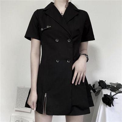 ins韩版夏季新款暗黑色双排扣别针网红西装短袖连衣裙送皮带女潮