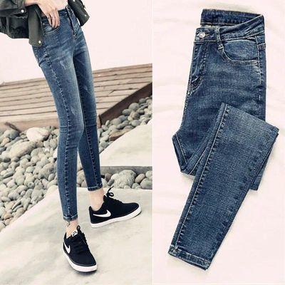 新款高弹力牛仔裤女夏秋学生紧身显瘦小脚铅笔复古蓝色高腰九分裤