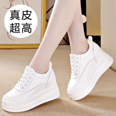 真皮内增高小白鞋女2020夏季新款韩版旅游运动休闲百搭厚底松糕鞋