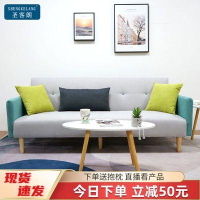 布艺沙发两用可折叠客厅小户型简易沙发床多功能实木出租房网红款