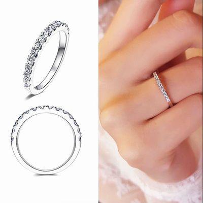 s925排钻细戒指女纯银时尚个性ins潮冷淡风尾戒网红小指食指单身