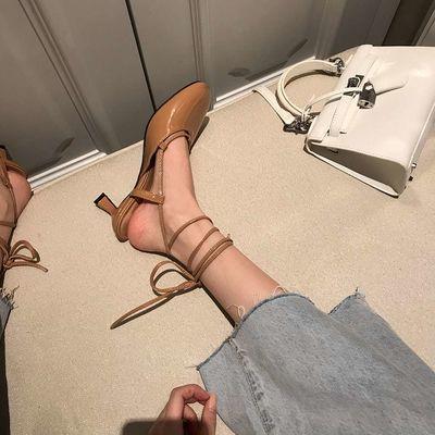 LmGe夏季网红圆头浅口细跟绑带高跟鞋女百搭漆皮后空中跟细跟凉鞋