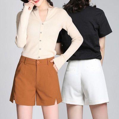 女式短裤外穿2020春夏季新款高腰雪纺开叉阔腿裤宽松显瘦西装热裤