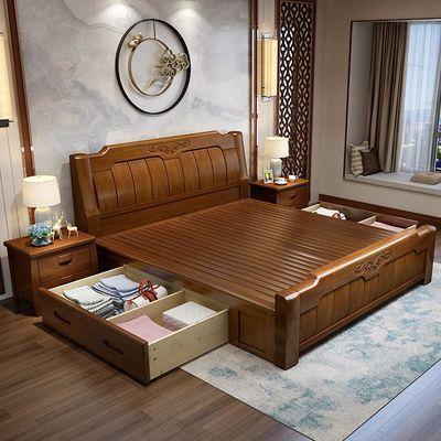 新中式实木床1.8米双人床原木主卧1.5米现代简约轻奢储物抽屉婚床