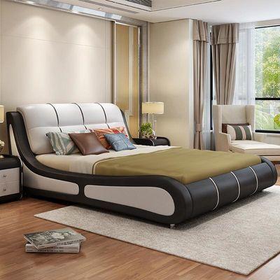 皮艺床双人床主卧1.8米公主床婚床1.5米简约现代皮质软体榻榻米床