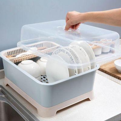 居家家带盖放碗架装筷笼橱具收纳箱厨房盘子收纳储物盒沥水置物架