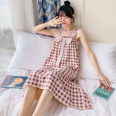 睡裙女士夏季纯棉性感吊带睡衣裙子长款过膝学生韩版可爱带胸垫薄