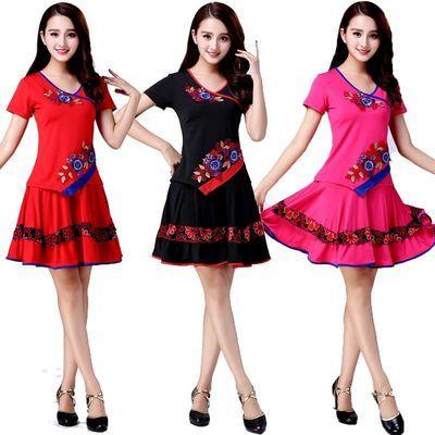 广场舞服装套装女新款夏季短袖舞蹈衣服裙子成人拉丁舞服装演出服
