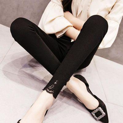 韩版打底裤女外穿九分裤小脚裤紧身裤裤子女学生加绒加厚冬季新款