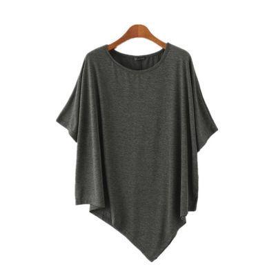 不规则莫代尔上衣女夏装中长款蝙蝠袖短袖T恤大码宽松圆领打底衫