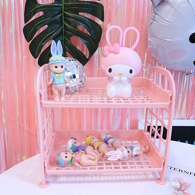 高档品牌【狂欢价】少女心粉色塑料置物架双层镂空收纳桌面化妆收