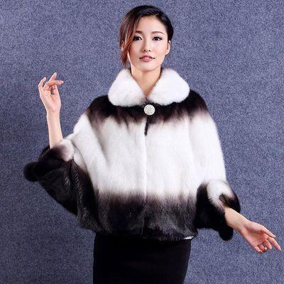 整貂2019年冬季新款女士水貂大码蝙蝠袖短款貂皮大衣裘皮皮草