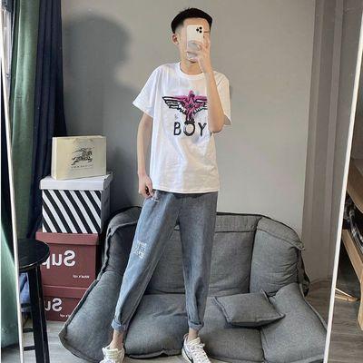 夏季短袖T恤韩版宽松学生男女社会网红同款百搭BOY老鹰短袖上衣潮