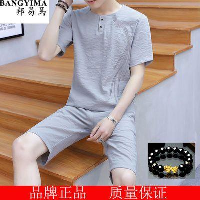 夏季套装男冰丝亚麻青年中国风刺绣男装薄款短袖+短裤两件套衣服