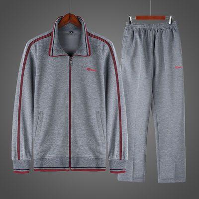 春秋新款两件套男士爸爸装运动套装大码宽松休闲中老年长袖跑步服
