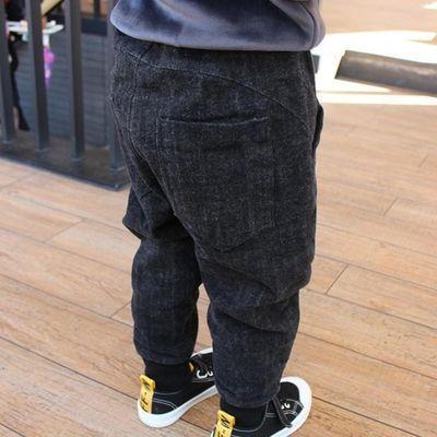 2020男女童秋冬新款加绒牛仔长裤弹力哈伦裤时尚洋气儿童束脚长裤