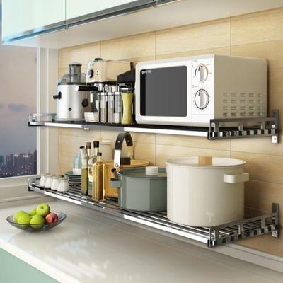 304不锈钢厨房置物架壁挂式微波炉架墙上烤箱架子支架收纳锅挂架