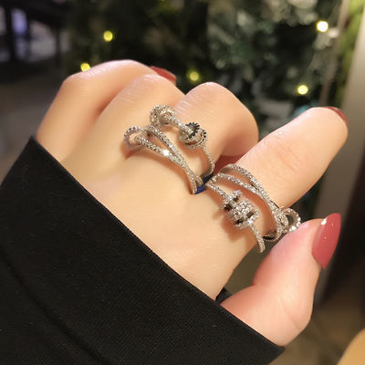 微镶轻奢转运灵动戒指女时尚个性ins潮日系韩版简约蹦迪食指指环