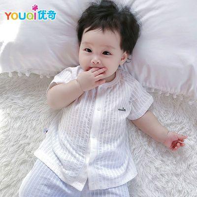 优奇婴儿上衣短袖夏季薄款宝宝T恤男纱布衣服纯棉夏装半袖