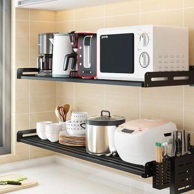 黑色不锈钢厨房置物架微波炉架子壁挂墙上电饭煲锅架烤箱收纳挂架