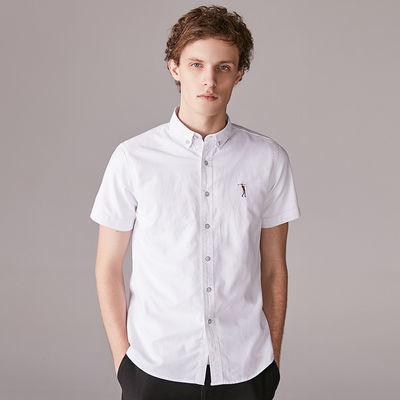 2020夏季新款白衬衫短袖衬衫男 休闲牛津纺条纹男士短袖衬衣潮流