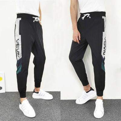 夏季新款速干空调裤韩版修身运动束脚裤社会精神小伙九分潮流男裤