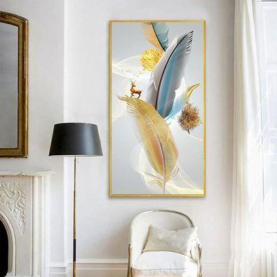 现代简约入门玄关装饰画新中式走廊竖版墙画楼梯过道抽象轻奢挂画