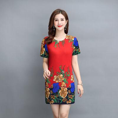 高端品牌【素仪】年轻妈妈装夏季短袖连衣裙中年女装中长款定位花