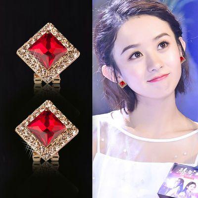 新款超闪水晶银针耳钉女日韩版简约方块气质带钻方形耳饰耳扣耳环