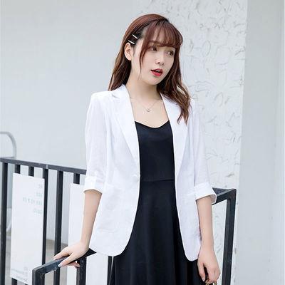 66179/小西装西服外套女夏季短款女七分袖修身薄款职业休闲装亚麻西服女