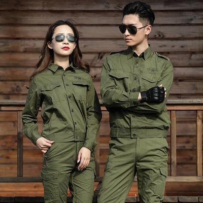 夏季棉线薄款工作服套装军绿色男女迷彩服焊工耐磨劳保服单件可选
