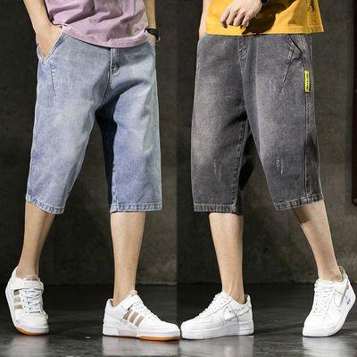 男士牛仔裤夏季薄款七分裤宽松直筒牛仔短裤男五分裤韩版潮流