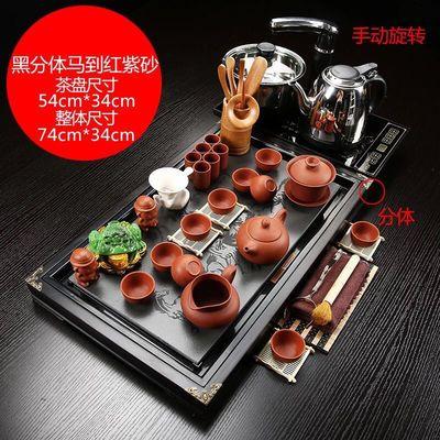 爆款品茶论道紫砂功夫茶具套装家用全自动四合一实木茶盘整套茶杯