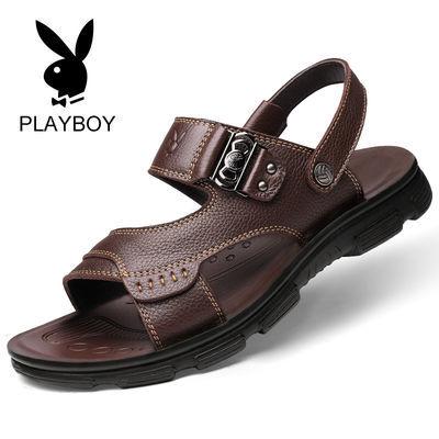 新款【花花公子贵宾】【头层牛皮】真皮凉鞋男夏牛皮沙滩鞋男士凉