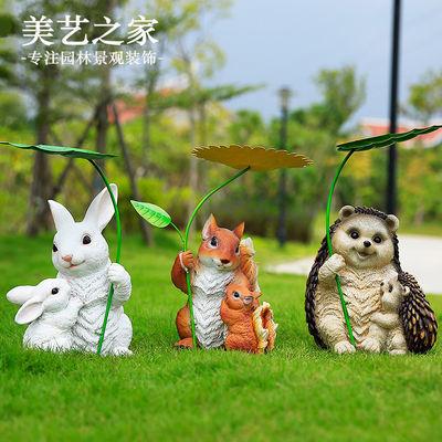 仿真小动物兔子松鼠摆件幼儿园树脂工艺品户外园林景观雕塑装饰品