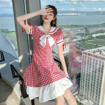 赫本风可盐可甜仙女连衣裙夏天2020新款时尚女装小清新格纹裙子女