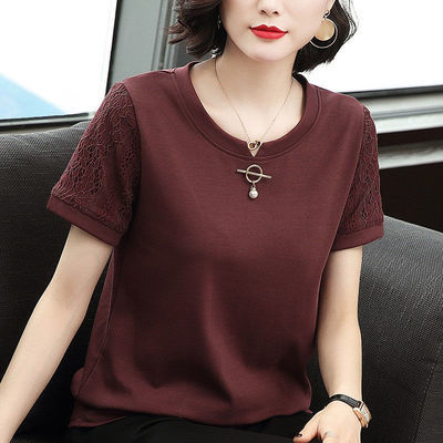 纯棉短袖t恤女2020夏季新款女装蕾丝袖宽松大码显瘦宽松打底衫
