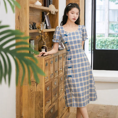 方领旗袍女夏长款复古气质年轻款少女日常中国风格子改良版连衣裙