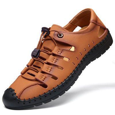 新款【不是牛皮包退】正品蜻蜓牌夏季皮凉鞋男真皮洞洞鞋透气休闲