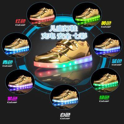 儿童灯鞋魔术贴低帮镜面耐磨超酷炫高质量LED鞋USB充电七彩发光鞋