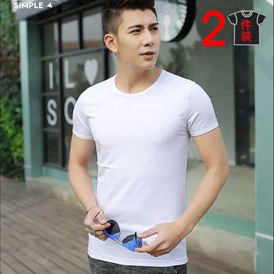 2件】黑色冰丝短袖t恤儿男夏季运动速干大码圆领白色V领半袖体恤