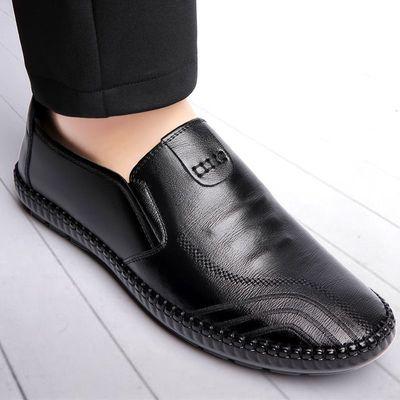 2020春秋新款男士皮鞋防滑透气休闲鞋四季豆豆鞋男圆头黑色皮鞋男