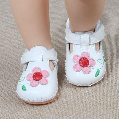 海星米琪秋季1岁女童宝宝镂空学步鞋 6-18个月牛皮软底防滑婴儿鞋