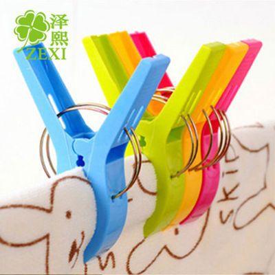 T1034 塑料加厚耐用大号防风夹 强力晾衣夹子防滑锯齿一包4个装