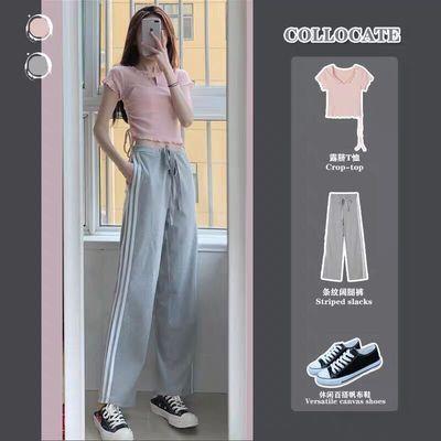 时尚运动套装女2020夏季高腰露脐tee上衣休闲阔腿裤港味两件套潮