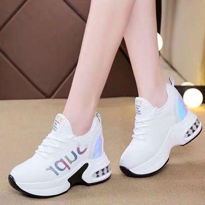 小白鞋女8cm网面运动2020春夏新款网红百搭内增高网鞋坡跟旅游鞋